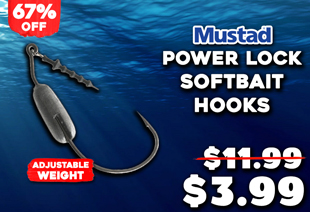 Mustad Power Lock Plus Weighted Softbait Hooks Qty 3