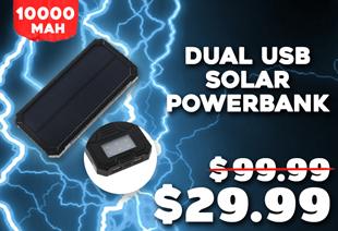 AGA A106 Dual USB Portable Solar Power Bank 10000mAh
