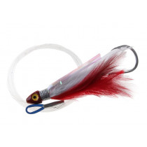 Black Magic Saltwater Chicken Feathered Game Lure Red/White Single Hook
